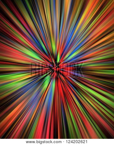 Colorful multi color watercolor burst on black background