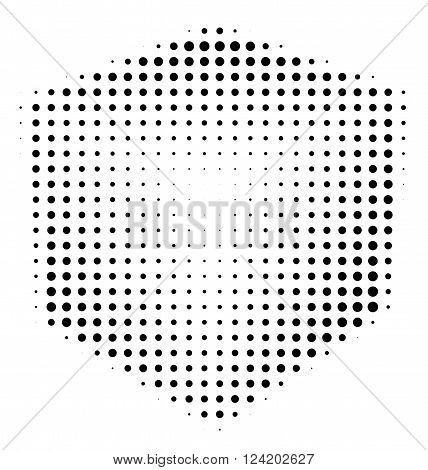 Halftone abstract black dotted three-dimensional cube on white background