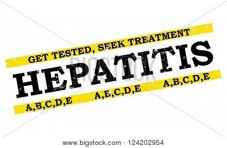 Hepatitis A,B,C,D,E grunge bi-color label. Get tested, Seek Treatment. Print colors used.