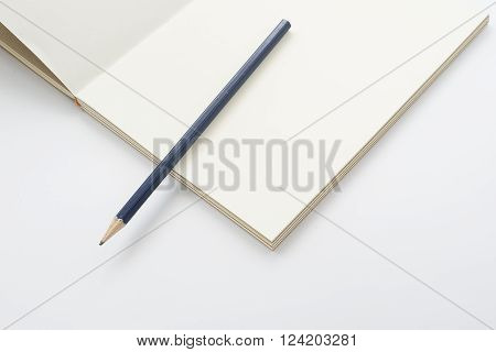 blue wooden pencil on a blank notebook