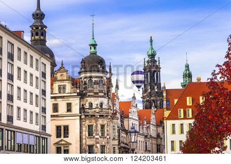 streets of beautiful baroque Dresden , Germany