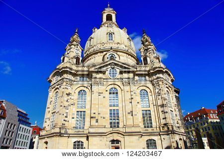 beautiful baroque Dresden - Germany, Frauenkirche cathedral