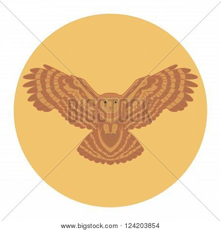 Silhouette of a owl in the sun. Vector illustration owl. Ethnic image of owl. Decorative element.