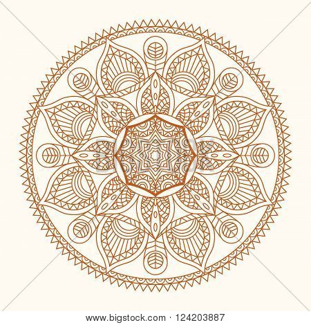 Mandala Colorful vector illustration of oriental. Decorative vintage pattern and geometric round ornament. Hand drawing motif of arabic, chinese, asian, islam, pakistan, indian, turkish, ottoman, yoga