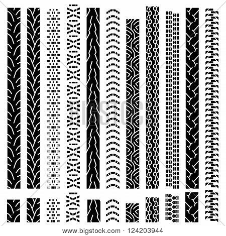 Collection textures of vector tire tracks, tire marks, tire tread, tread marks silhouette, pattern for machine and vehicle