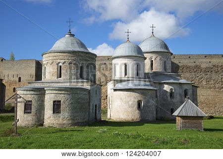 Ancient churches of Ivangorod fortress on a sunny day. Leningrad region, Russia