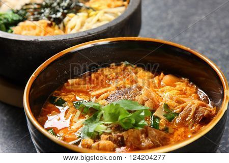 close up shot of Korean hot soup