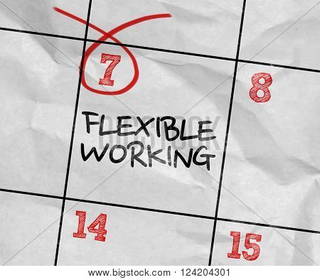 Concept image of a Calendar with the text: Flexible Working