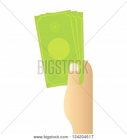 Hand holding money on white background vector