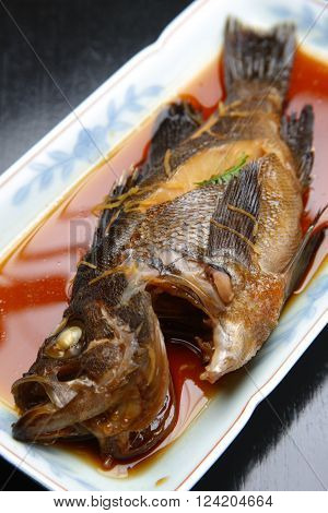 close up shot of Japanese boiled fish