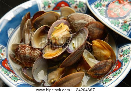 close up shot of  Japanese style Steamed Shellfish