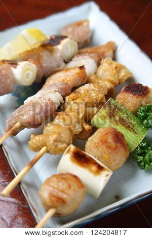 close up shot of Japanese chicken barbecue yakitori