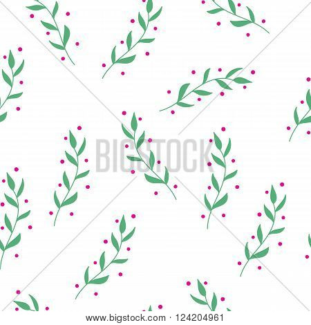 Hand drawn herbs seamless pattern. Cute colorful vector flowers for postcard and poster modern design. Grandma style flower pattern for textile wrapping paper hand drawn style backgrounds.
