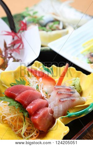 close up shot of fresh sashimi plate