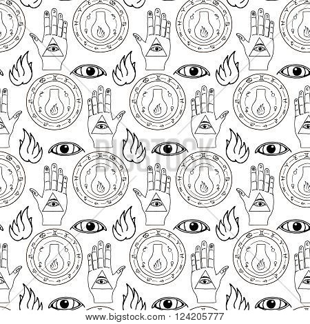 Seamless pattern all seeing eye, the hand and the alchemical flask on a white background