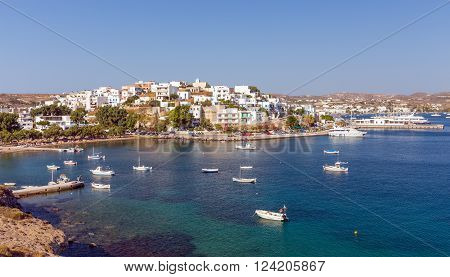 MILOS ISLAND, GREECE - AUGUST 4: Panoramic view of Adamantas port on August 4, 2015. Adamantas is a seaside village and the main port of the island.