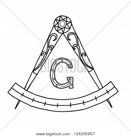 Masonic Freemasonry Emblem Icon Logo. Hand drawn