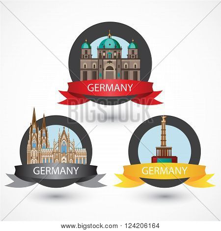 Set of most Famous German Landmarks. High detailed colorful style. Travel icon. Cologne Cathedral, The Protestant Berlin Cathedral and Berlin Victory Column