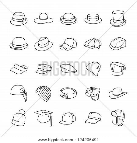 Different styles on hats outlines vector icons