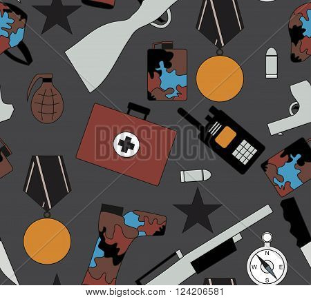 the pattern is army, a background on a military subject, the weapon and the first-aid kit, pieces of military equipment,  a flask and a handheld transceiver