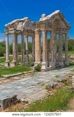 Tetrapylon ruins of ancient Aphrodisias Aydin Province Turkey