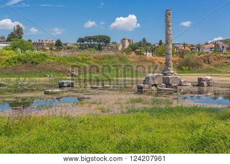 Ruins of Temple of Artemis Ephesus Selcuk Izmir Province Turkey