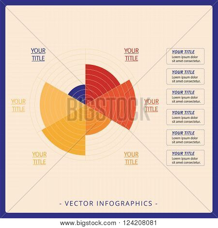 Multicolored editable data driven polar chart template with six sectors on beige background