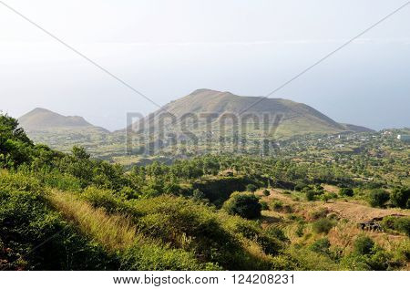 The landscape of the town of Ponta Verde on the island of Fogo, Cabo Verde, as seen from higher elevation
