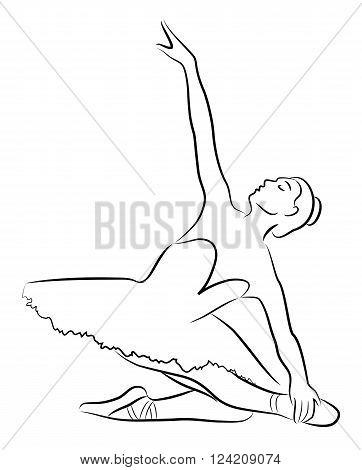 The purest black lines of graceful ballerina