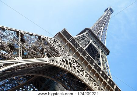 Eiffel Tower paris france looking upwards wide angle view