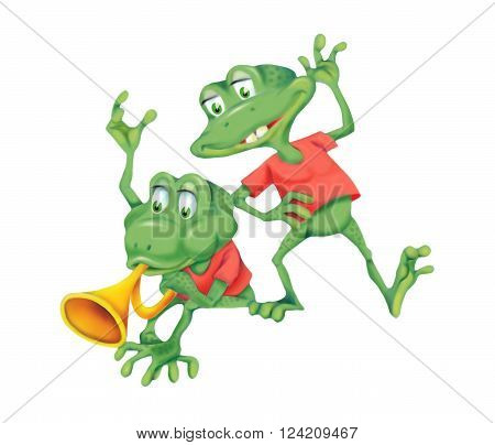 Illustration of two cheerful frogs isolated on white background