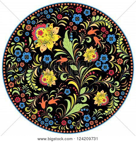 Vector illustration of floral traditional russian pattern.Khokhloma.
