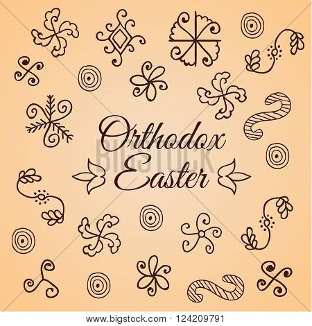 Traditional hand drawn simple folk ornament. Doodle set. Design for shrink egg wrap. Card for Ortodox Easter. Modern vector style.