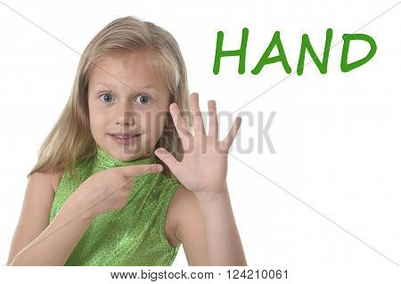 6 or 7 years old little girl with blond hair and blue eyes smiling happy posing isolated on white background pointing hand in learning English language school education body parts card set
