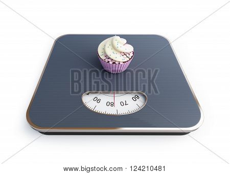 bathroom scale with the cupcake 3D rendering on a white background