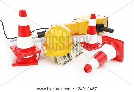 jackhammer construction helmet traffic cones road cone. 3D rendering