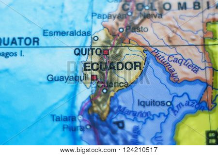 Beautiful photo of a map of Republic of Ecuador and the capital Quito .