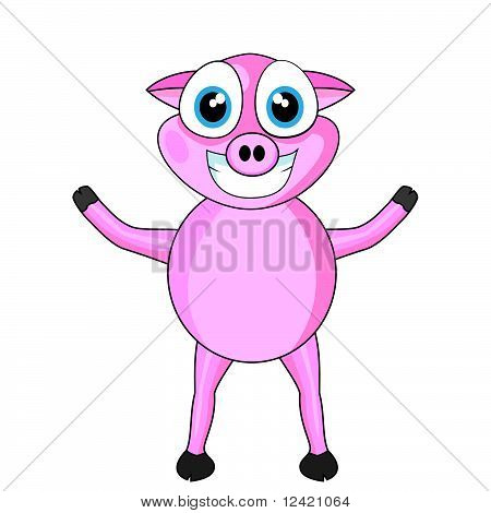 Cute Pink Happy Pig
