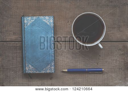 Mug Of Hot Coffee, Notebook And Pen