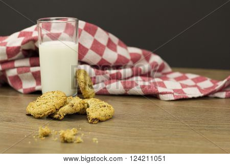 Cookies And Milk On A Rustic Background