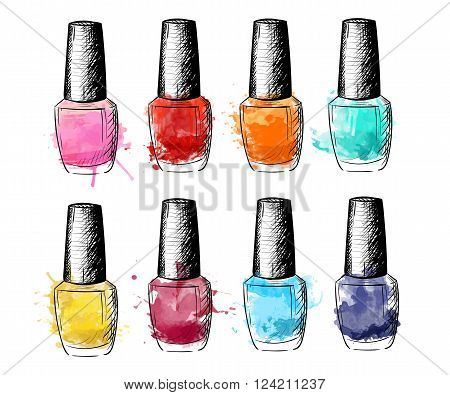 Cosmetics collection. Vector fashion set. Hand drawn graphic lips eye heels mascara lipstick nail polish. Sketch vector illustration.