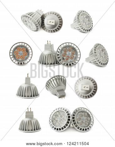 Energy saving plastic led bulb isoalted over the white background, set collection of multiple different foreshortenings