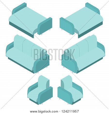 Isometric turquoise sofa. Light blue chair. The sofa bed for sleeping. Comfortable furniture for the home. Element of the interior. The design of the rooms of the house. Vector illustration.