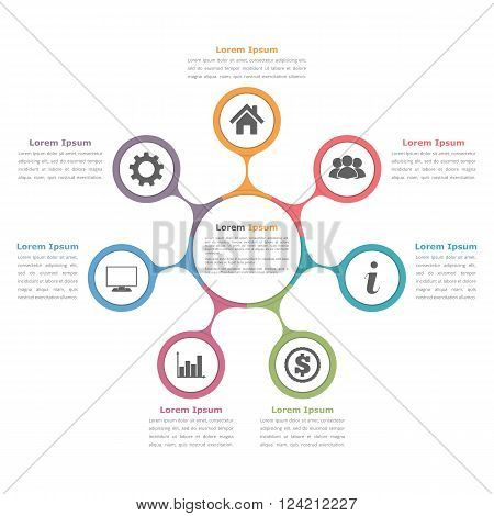 Circle diagram with seven elements with icons and text, flow chart template, business infographics, vector eps10 illustration