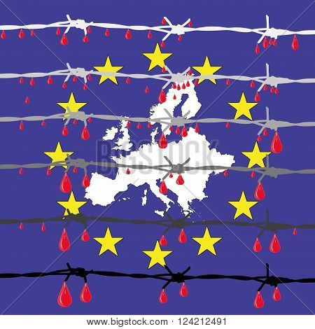 The European ideals - Symbolic illustration depicting the new walls in Europe