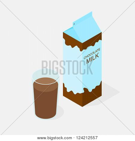 Package of chocolate milk. The isometry. A glass of milk with cocoa taste. Delicious Morning Breakfast. Natural product. The benefits of milk. Milkshake in a glass. Cow or goat milk. Vector illustration.