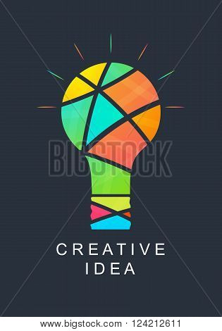 Creative idea. Abstract light bulb. Bright colors. Icon for your company. Logo success. Team of creative people. Vector illustration.