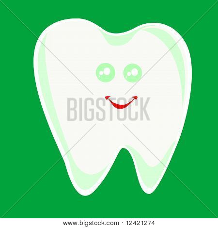 winking happy smiling health tooth isolated in white background