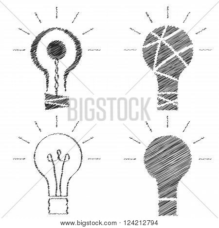 Doodle light bulbs. The black outline of incandescent lamps. A set of sketches. Creative idea. Insight icons. Negligent design. Vector illustration.