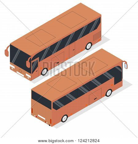 Isometric tourist bus. Realistic bus in a flat style. The front and back. Urban transport for passengers. Transport of people and things. Vector illustration.